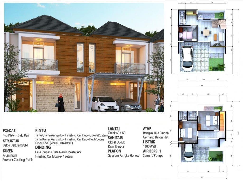 desain rumah 2 lantai tipe 73